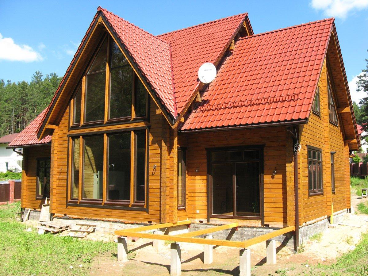 Цена дома из бруса под ключ: дом из бруса с большим остеклением